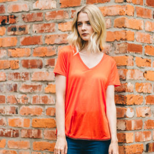 Maison Scotch Coral V Neck Tee