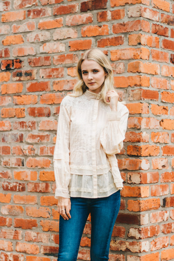 Intropia Cream Lace Victorian Blouse