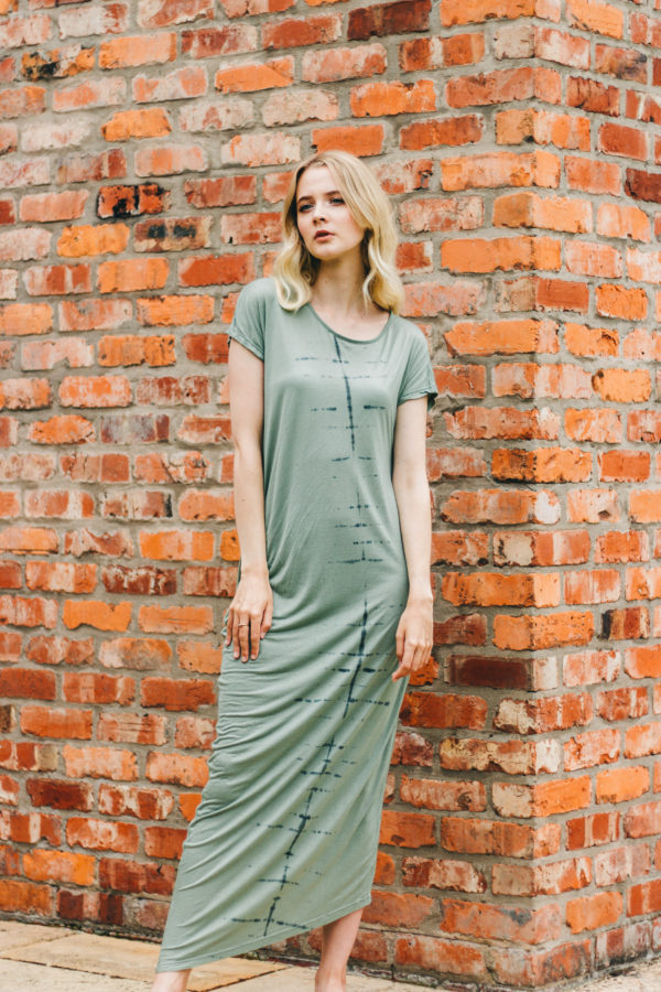 Rabens Aquamarine Leaf T Shirt Dress