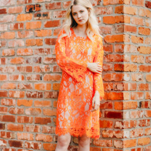 Intropia Neon Coral Lace Shift Dress