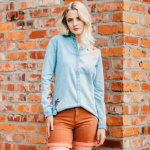 Maison Scotch Light Denim Flowers Shirt