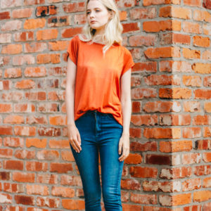 Maison Scotch Rust super soft boxy tee