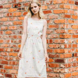 Intropia Cream Neon Flower Embroidered Dress