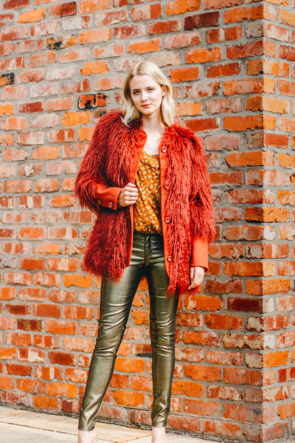Intropia Rust Faux Fur Coat