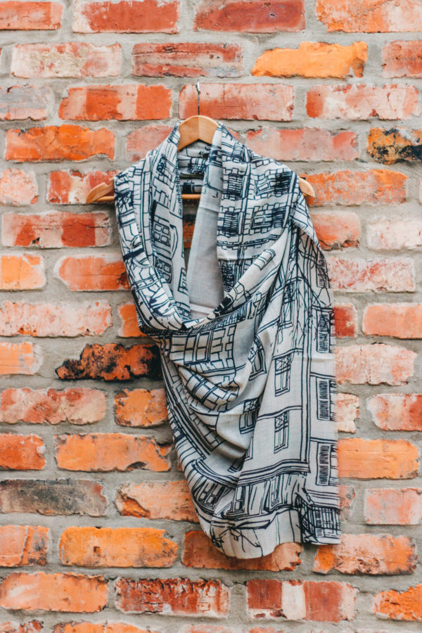 Silk Route Nelson Grey and Black London Town House Print Scarf