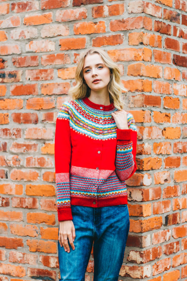 Eribe Red Alpine Hand-Knitted Solstice Sweater