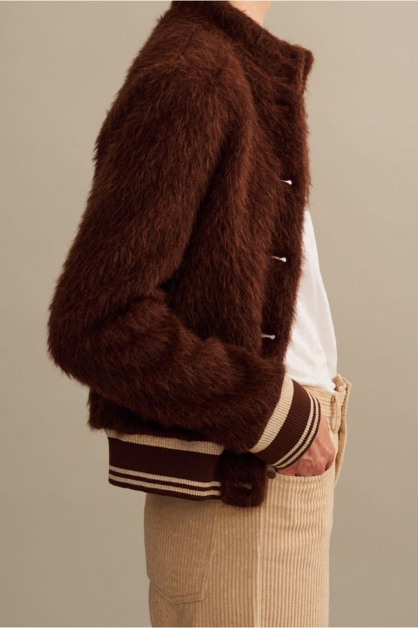Polder Brown Terry retro Baseball Jacket