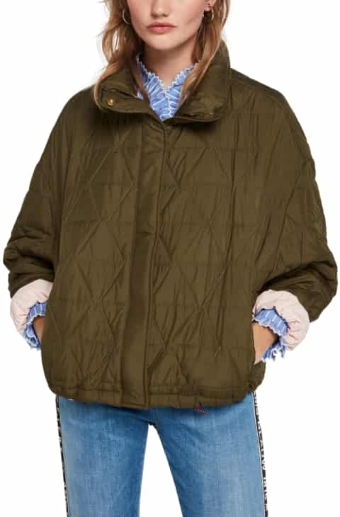 Masion Scotch Olive green Loose Quilted Jacket