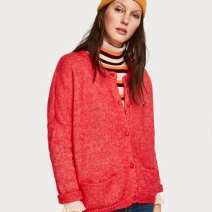 maison postal red fluffy knit cardi