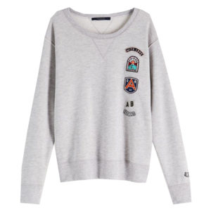 Maison Scotch Grey Applique Artwork Sweater